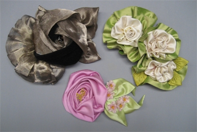 Candace Kling fabric flowers board