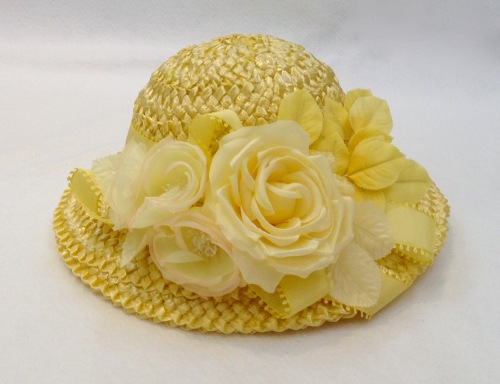 NSB - Kentucky Derby raffia cloche 3 trimmed